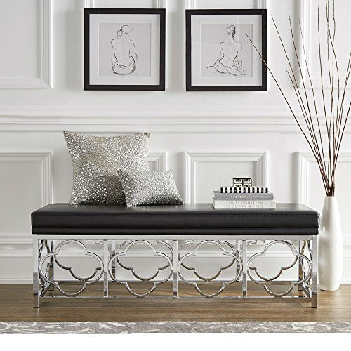 Contemporary Transitional Upholstered Entryway Bench with Quatrefoil Base (Black Leather - Smooth Top)