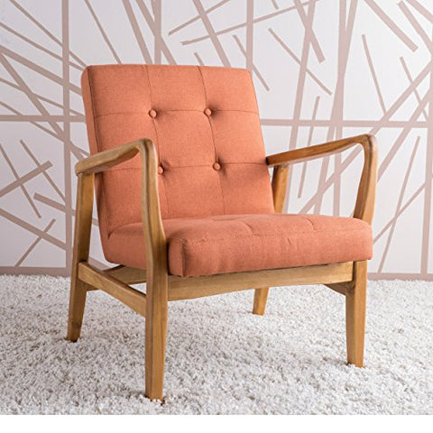 Mid Century Modern Button Tufted Upholstered Seat Accent Arm Chair with Solid Wood Frame (Orange)