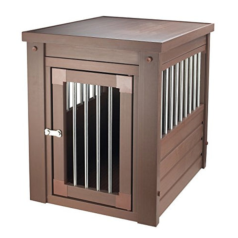 Contemporary End Table Pet Crate and Kennel with Stainless Steel Spindles (Extra Large, Russet)