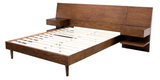 Mid Century Modern Wood Low Profile King Platform Bed with 2 Nightstands
