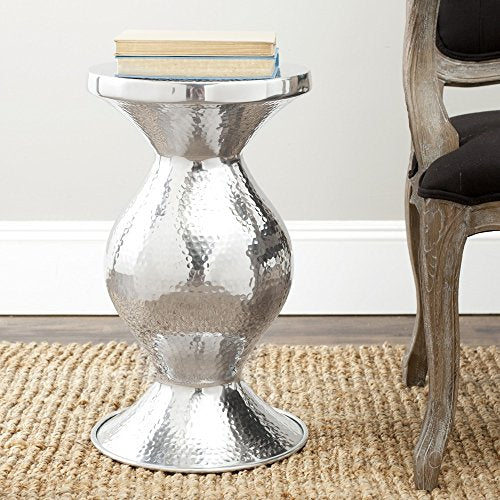 Contemporary Vase Shape Wide Top Cocktail End Table in Hammered Silver Finish