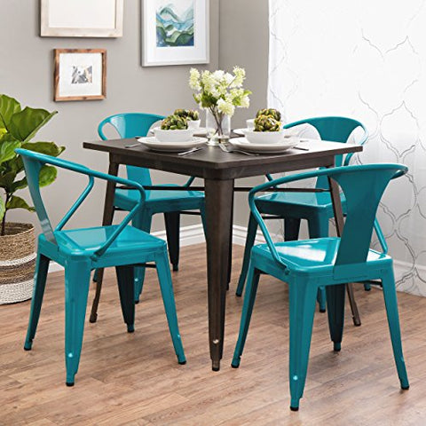 Set of 4 Turquoise French Bistro Metal Chairs in Glossy Powder Coated Finish