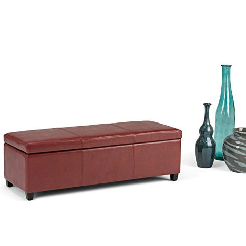 Modern Transitional Faux Leather Upholstery Storage Ottoman Bench with Solid Wood Frame (Red)