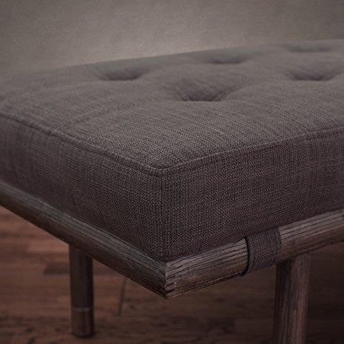 Mid Century Button Tufted Dark Gray Bench with Espresso Wood and Metal Bottom Legs