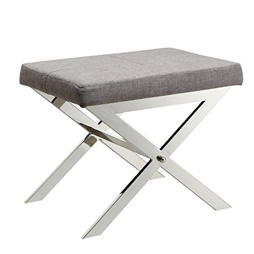 Contemporary Linen Upholstery 22 Inch Vanity Stool with Chrome Crossed Legs  (Gray)