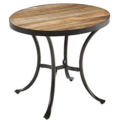 Country Style Reclaimed Wooden Top Oval Shaped End Coffee Table | Metal Frame, Natural Finish, Living Room Decor