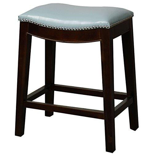 Classic Saddle Wood Legs Backless Counter Height Barstool with Leather Seat - (Blue)