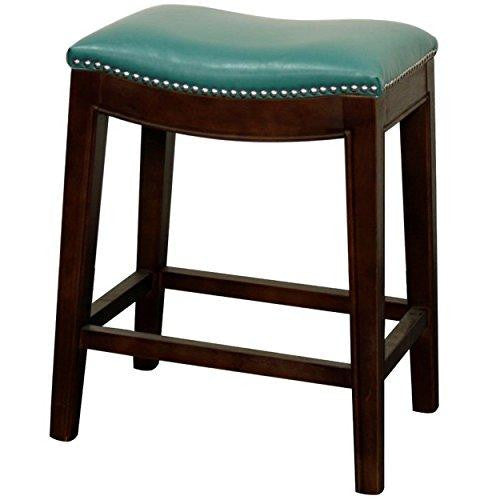 Classic Saddle Wood Legs Backless Counter Height Barstool with Leather Seat - (Turquoise)