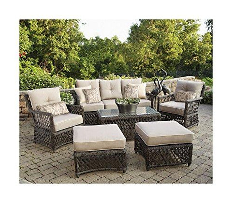 Lattice Outdoor Brown Resin Wicker 6 Piece Sofa Patio Set with Taupe Sunbrella Cushions plus Ikat Decorative Pillows- 2 Armchairs, Sofa, 2 Ottomans and Coffee Table