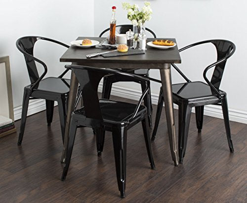 Set of 4 French Bistro Black Metal Chairs in Glossy Powder Coated Finish Steel Stackable Dining