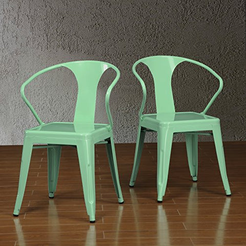 Set of 4 Mint Green French Bistro Metal Chairs in Glossy Powder Coated Finish Steel Stackable Dining