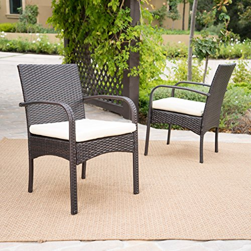 Contemporary Set of 2 Wicker Dining Chair with Beige Cushions (Brown)