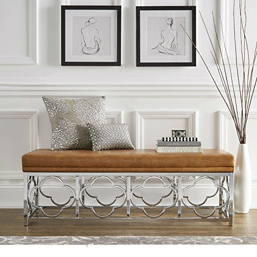 Contemporary Transitional Upholstered Entryway Bench with Quatrefoil Base  (Caramel Leather - Smooth Top)