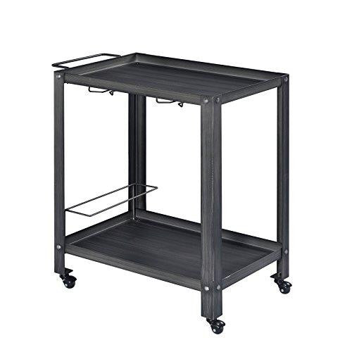 Industrial Gray Black Kitchen Bar Serving Rolling Wine Cart with Tray Top and Bottom Shelf
