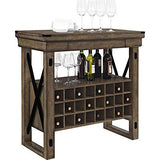 Modern Rustic Grey Wood Wine Storage Bar Cabinet Open Shelf with Black Metal Accents