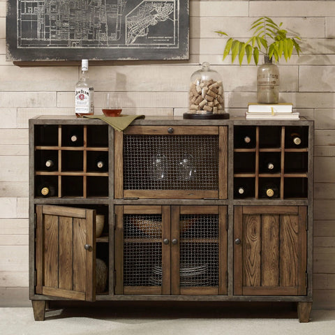 Industrial Rustic Liquor Storage Wine Rack Wood Buffet with Distressed Wood Finish