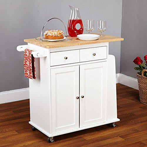 Contemporary Mobile Kitchen Island Rolling White Cart Wood Frame with Single Storage Drawer and 2-Cabinets | Adjustable Cabinet Shelf, Towel Rack