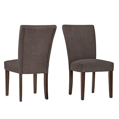 Modern Dark Gray Linen Parsons Style Dining Chairs | Wood Finish Wooden Legs - Set of 2