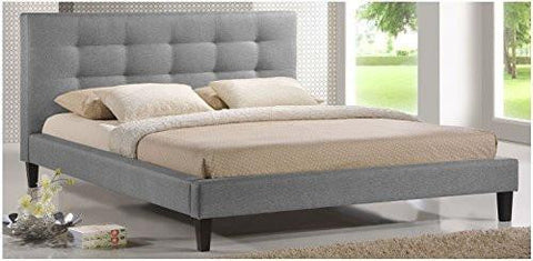 Modern Tufted Upholstered Padded Square Queen Low Headboard & Platform Bed in Gray