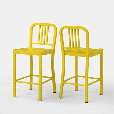 ModHaus Set of 2 Yellow Metal Counter Stools with Back in Glossy Powder Coated Finish