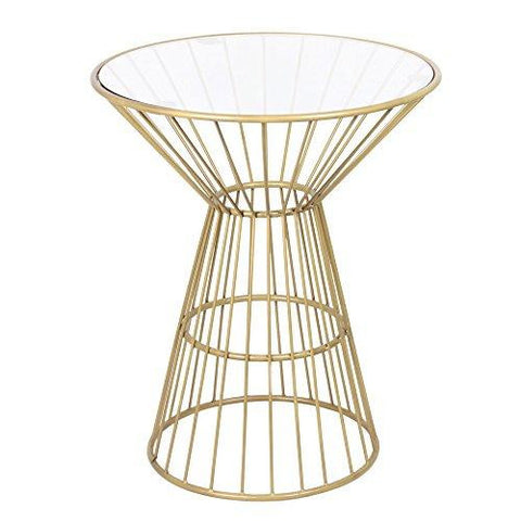 Modern Antique Gold Round Wire Frame Side End Table with Glass Top