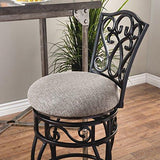 Classic Scroll Black Metal Curved Back Swivel Bar Stools with Black and Tan Fabric Seat Set of 2