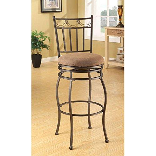 Magnificent Modern Curved Swivel Metal Bar Stools With Beige Microfiber Upholstery Set Of 2 Dailytribune Chair Design For Home Dailytribuneorg
