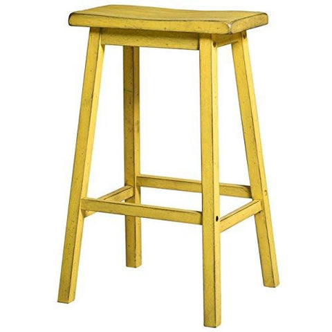 Contemporary Style 24 inch Counter Height Bar Stools with Saddle Seat | Yellow Finish, Wood Frame, Home Decor (Set of 2)