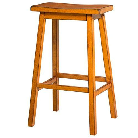 Contemporary Style 29 inch Bar Height Saddle Seat Bar Stools | Oak Finish, Wood Frame, Home Decor (Set of 2)