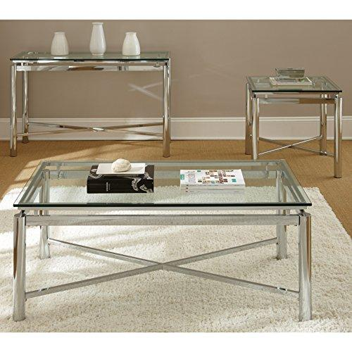 Modern Chrome Tempered Glass Top Cocktail Coffee Table