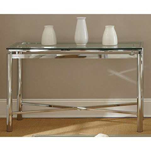 Modern Chrome Tempered Glass Top Sofa Hall Entry Table Console