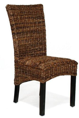 CONTEMPORARY WOVEN RATTAN WICKER STYLE HIGH BACK ARMLESS DINING SIDE CHAIR - WOOD LEGS BLACK FINISH