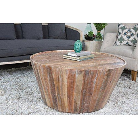 Contemporary Style Rustic Wooden 38 inch Round Barrel Coffee Table | Lime Wash Wood Finish