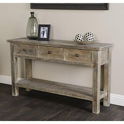 Contemporary Rustic Pine Accent Console Table with 3 Drawers in Lime Wash Brown Finish
