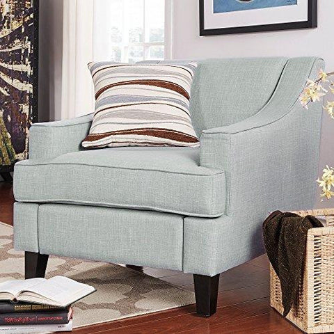 Modern Light Blue Linen Fabric Upholstered Swoop Armchair