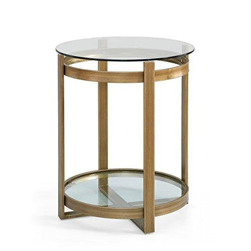 Gold Side Table | Antique Metal End Table with Glass Top and Bottom Shelf