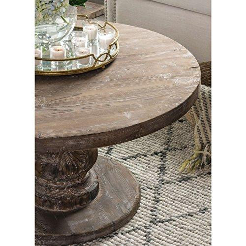 Rustic Distressed Reclaimed Pine Wood Round Coffee Table in Mocha