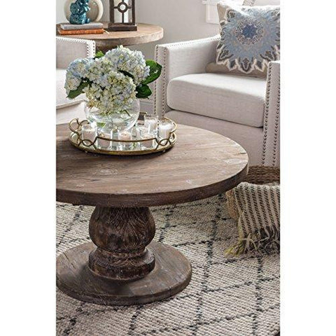 Rustic Distressed Reclaimed Pine Wood Round Coffee Table