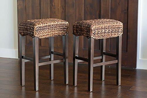 Set Of 2 Natural Hand Woven Seagrass Backless Bar Stools
