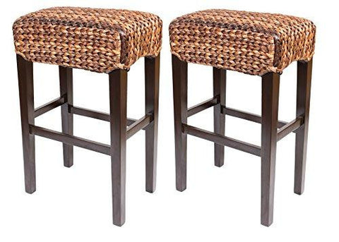 Set of 2 Natural Hand Woven Seagrass Backless Bar Stools Mahogany Wood Base