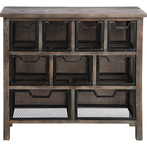 Industrial Rustic Reclaimed Wood Finish Accent Metal Bin Console Sofa Entry Table