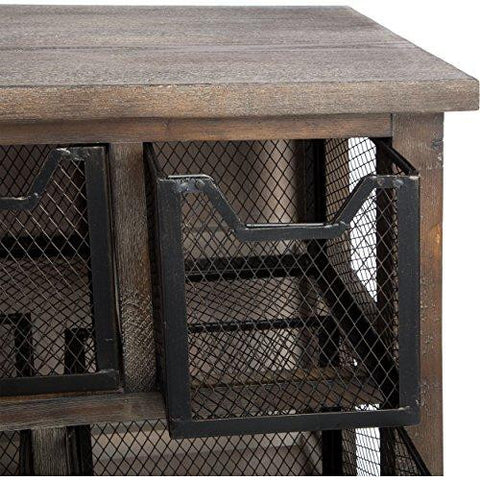 ... Industrial Rustic Reclaimed Wood Finish Accent Metal Bin Console Sofa Entry  Table ...