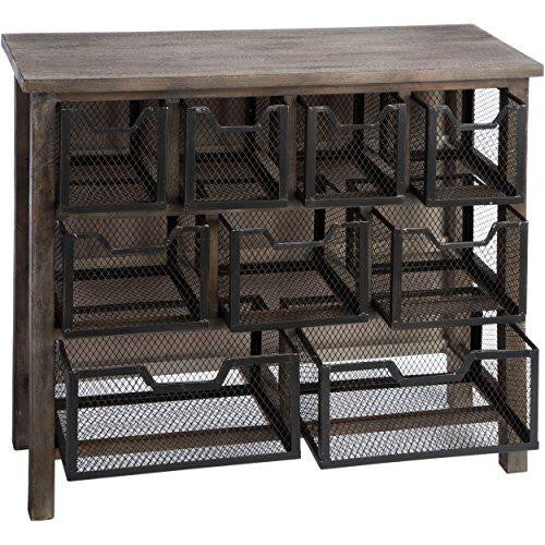 Industrial Rustic Reclaimed Wood Finish Accent Metal Bin Console Sofa Modhaus Living