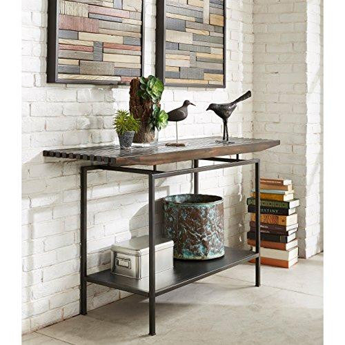Industrial Modern Accent Sofa Console Table with Slat Top and Lower Shelf in Grey Finish