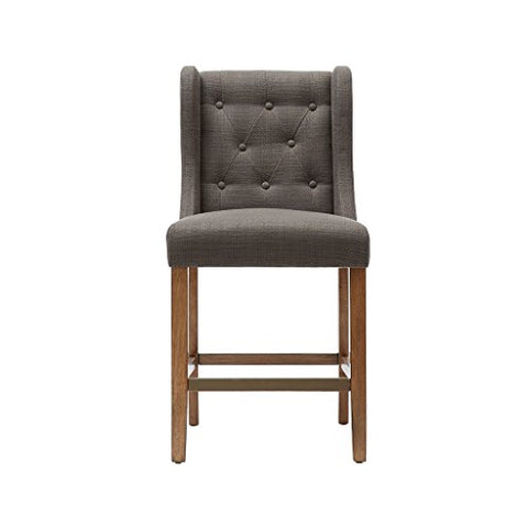 Mid Century Modern Button Tufted Woven Fabric Upholstered Counter Stool with Bronze Foot Plate and Solid Wood Legs (Dark Gray)