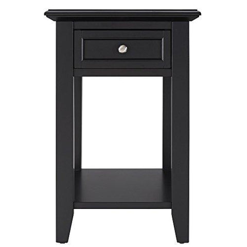 Modern Black Accent End Table Night Stand with Hidden Power Strip Charging Station, Storage Drawer and Shelf