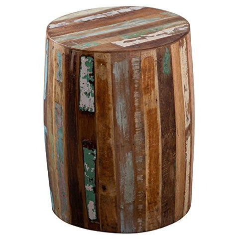 Country Style Modern Reclaimed Wood Barrel Shaped End Tanki Table | Striped  Finish, Living Room