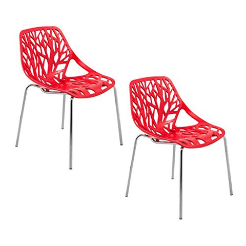 ModHaus Modern Red Stencil Birch Tree Sapling Chairs with Chrome Legs - Set of 2