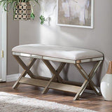 Belham Living Cushioned Indoor Bench with Mirrored Frame - ModHaus Living