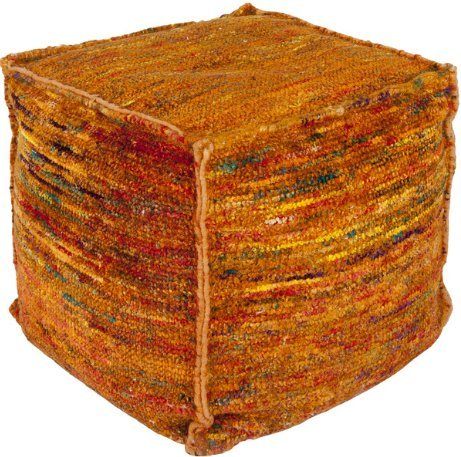 Contemporary 18 Inch Striped Square Pouf  (Orange)